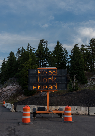 Road Work Ahead Construction Sign Vertical indicates warning of delays