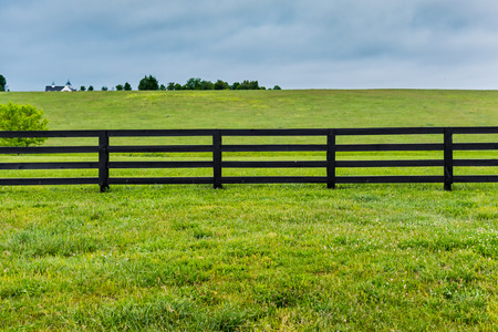 Section of Horse Fence and Pasture Stock Photo