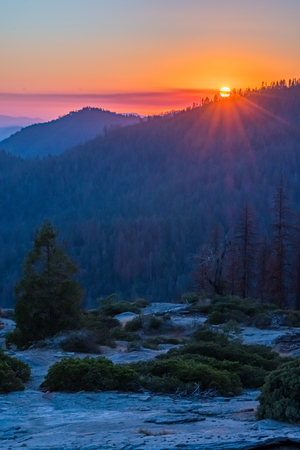 Vibrant Sunset Over Mountains in Sequoia wilderness
