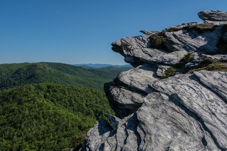 Rock Outcropping Above Blue Ridge Mountains in Linville Gorge Stock Photo