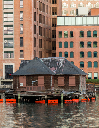 Old Shack in Boston Harbor is boarded up