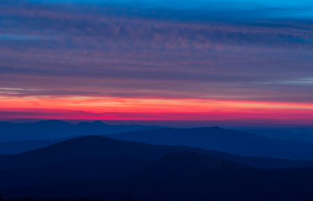 Layers of Mountains and Light along Blue Ridge parkway Stock Photo