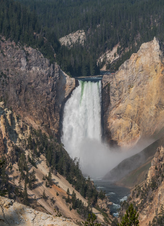 Yellowstone Falls Rushes into Valley in summer