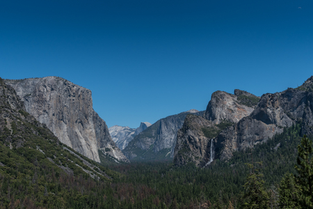 Yosemite from Tunnel View on blue sky afternoon