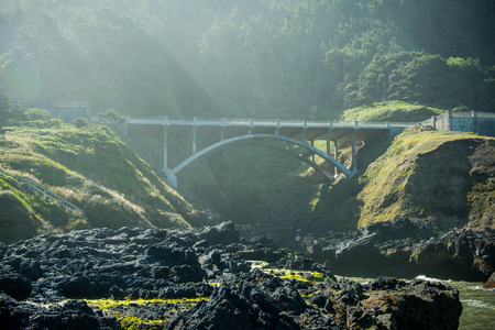 Bridge Over Cooks Chasm Along Pacific Coast Stock Photo