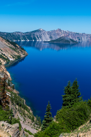Blue Waters Along the Shore of Crater Lake in Oregon