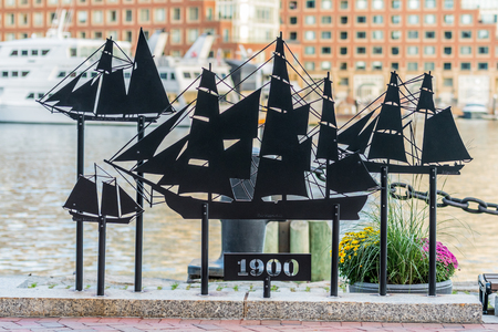 Boston, United States: October 12, 2017: Tall Ships Cut Out in Metal