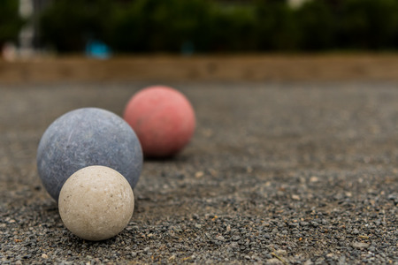 Three Bocce Balls with Copy Space to Right