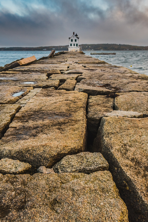 The Breakwater at Rockland Harbor along the coast of Maine