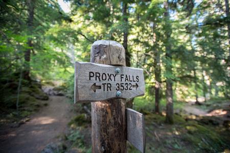 Proxy Falls Loop Trail Sign 版權商用圖片