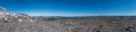 Panorama Atop Burroughs Mountain on perimeter of Mount Rainier Stock Photo