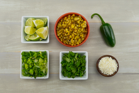 Mexican Street Corn Ingredients arranged on table top