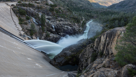 Water Pours from Hetch Hetchy Dam in California
