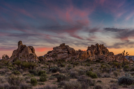 Subtle Sunset Over Climbing Boulders in Joshua Tree