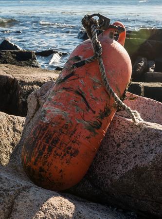 Weather Beaten Bouy on Rocks along Atlantic coast in Maine Imagens