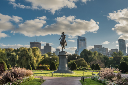 Boston, United States: October 13, 2017: Washington Statue and Boston Skyline