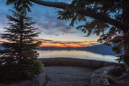 Sunrise Over Crater Lake on the South Rim during summer