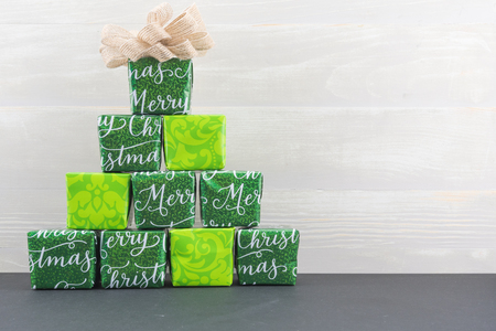 Pyramid of Small Gifts With Copy Space to right