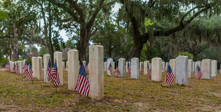 American Flags at Soldiers Graves in southern cemetery