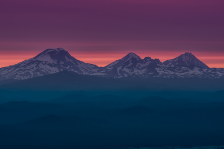 The Three Sisters at Sunset Near Bend, Oregon. 스톡 콘텐츠