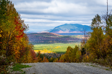 Gravel Road Drops into the Colorful Northwoods of Maine
