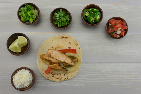 Chicken Fajita with Toppings and Copy Space Stock Photo