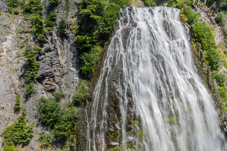 Cliffs and Narada Falls in Crater Lake wilderness