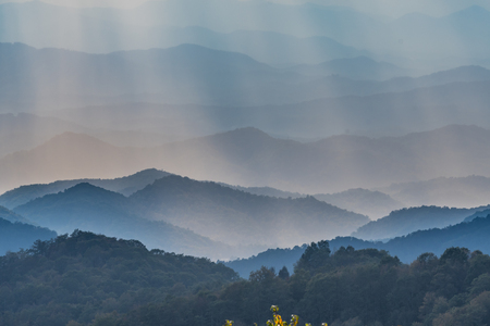 Layers of Blue Ridge Mountains through Afternoon Light in North Carolina
