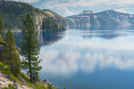 Lake Level View of Crater Lake in Oregon wilderness