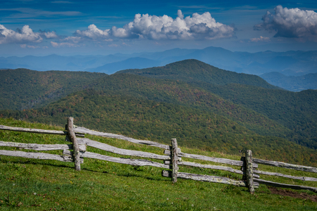 Split Rail Fence and Southern Appalachians in early autumn Stock Photo