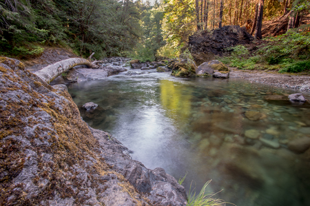 Sun Shines Over Brice Creek with river rocks below surface Stock Photo