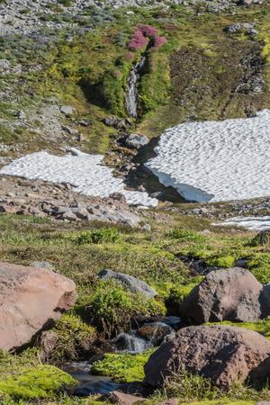 Small Streams Breaks Apart Winter Snow Shelf in Washington wilderness