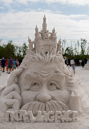 """""""Fort Meyers Beach, United States: November 20, 2017: A Quote by Albert Einstein"""" by John Gowdy in the Fort Meyers Beach Sand Castle competition Editorial"""