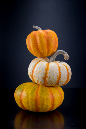Acorn Squash and Two Small Pumpkins in Tower Stock Photo