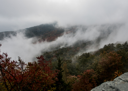 Thick Morning Fog Near Linn Cove Viaduct in early fall
