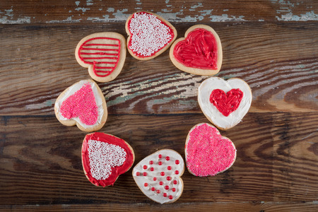 Circle of Decorated Heart Shaped Cookies Stock Photo