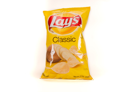 April 10th, 2018: Illustrative Editorial Image of Lays Potato Chips on White Background Redakční