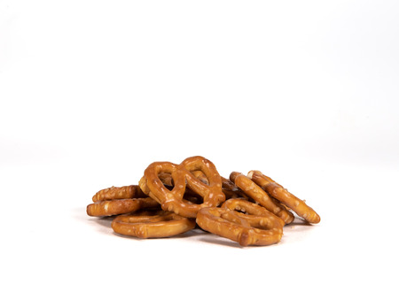 Small Pile of Pretzels on White Background