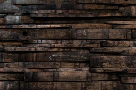 Zbliżenie na tle ściany klepki beczki Bourbon