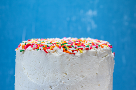 Top Layer of Sprinkle Topped Cake in front of blue background