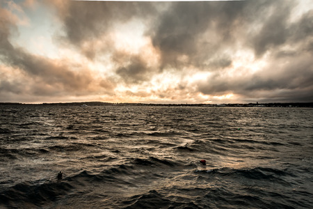 Stormy Clouds Over Coastal Waters  in Maine Stock Photo