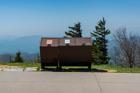 Trashcans with a Beautiful View of mountain range 写真素材