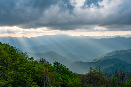 Sun Rays Fall From Clouds Over Smokies 写真素材