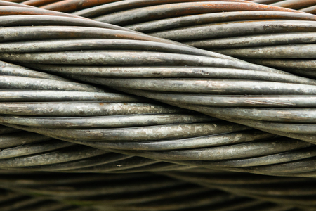 Close Up Of Thick Braided Wire Cable Horizontal Stock Photo Picture