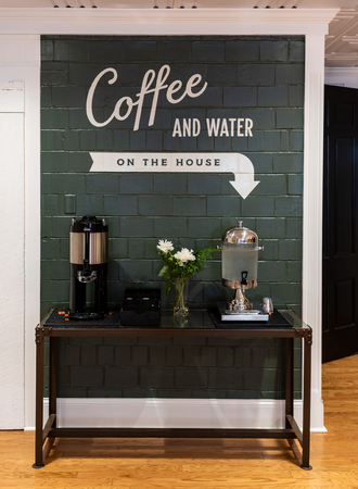 Coffee and Water Station in Guest Foyer
