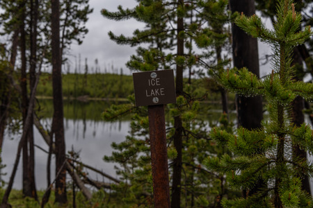 Ice Lake Sign in Yellowstone Wilderness on Overcast Day