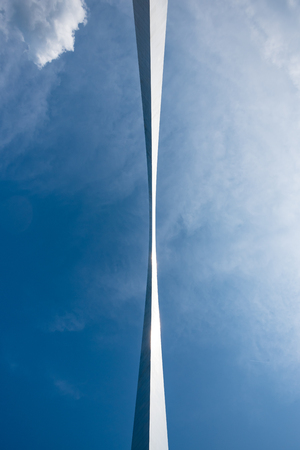 St. Louis, United States; June 11, 2018: Looking Directly Up at Gateway Arch offers an unusual perspective