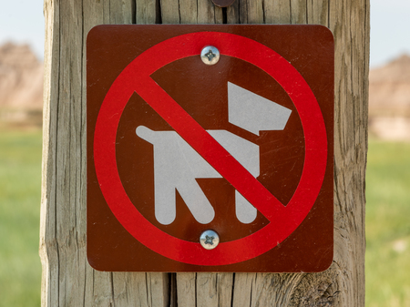No Dogs Icon Sign at trailhead in national park Stock Photo