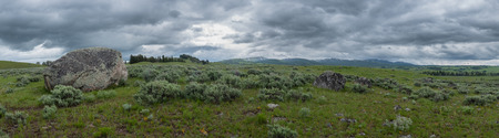 Panorama of Large Boulder in Front of Wyoming Wilderness in Yellowstone