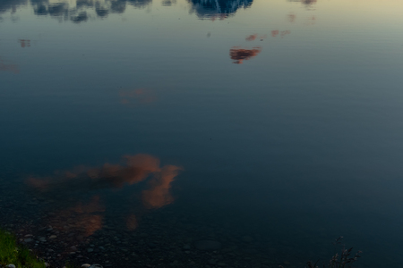 Calm Waters of Jackson Lake with Cloud Reflection